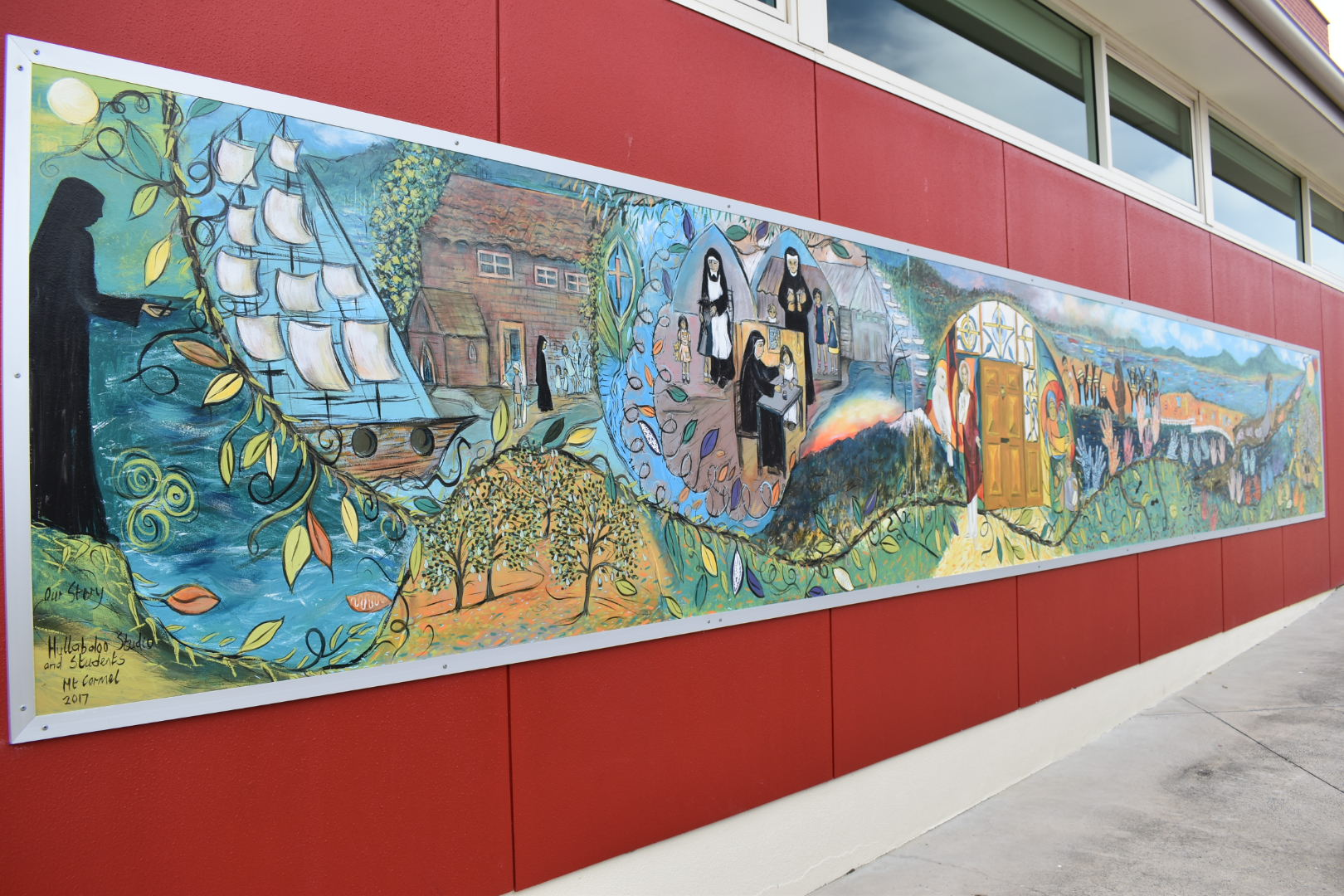 Artistic mural of the Sisters journey at Mt Carmel Catholic College, Sandy Bay